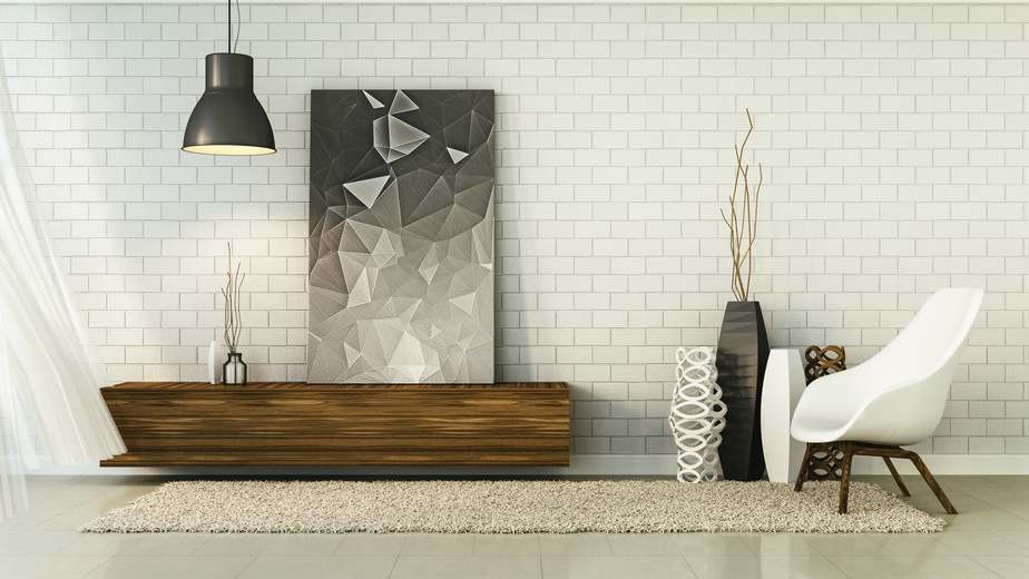 Loft Living and brick wall / 3D Render Image