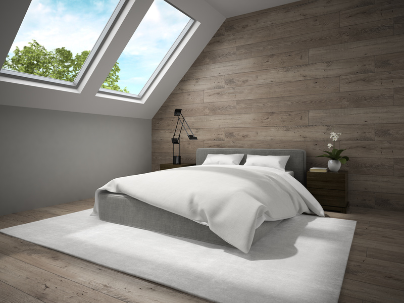 Interior of mansard badroom with wooden wall 3D rendering